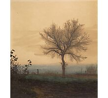 Leon Bonvin - Landscape With A Bare Tree And A Plowman 1864. Country landscape:  tree, village view, plowman, sky, rustic, fog, field, countryside road, trees, garden, flowers Photographic Print