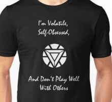 Volatile, Self-Obssessed, Doesn't Play Well With Others (White) Unisex T-Shirt