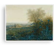 Leon Bonvin - Landscape With A Farmhouse And A Peasant Wheeling A Barrow 1865. Country landscape: village view, country, plowman, sky, rustic, fog, field, countryside road, trees, garden, flowers Canvas Print