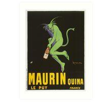 Leonetto Cappiello - Maurin Quina. Man portrait: green devil,  devil, absinthe, beard, alcohol, bottle , boyfriend, smile, manly, sexy men, mustache Art Print
