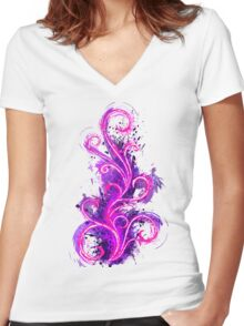 Abstract Flame Women's Fitted V-Neck T-Shirt