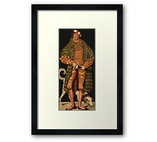 Lucas Cranach The Elder - Duke Henry The Pious 1514. Man portrait: strong man, man, male, beautiful costume, HEADDRESS, masculine, dog, macho, manly, sexy men,  Henry Framed Print