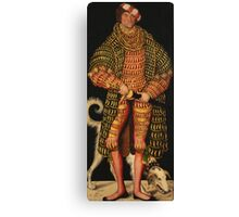 Lucas Cranach The Elder - Duke Henry The Pious 1514. Man portrait: strong man, man, male, beautiful costume, HEADDRESS, masculine, dog, macho, manly, sexy men,  Henry Canvas Print