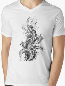 Abstract Flame Sketch Mens V-Neck T-Shirt