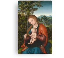 Lucas Cranach The Elder - Madonna And Child In A Landscape 1518. Mother with kid portrait: madonna, Madonna And Child, female, pretty angel, child, Eden, tree, mothers day, memory, mom mum mam, baby Canvas Print