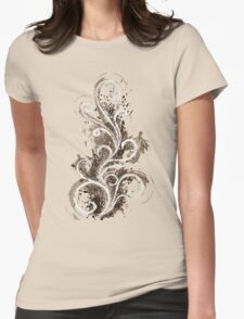 Sepia Abstract Flame Womens Fitted T-Shirt
