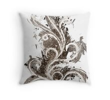 Sepia Abstract Flame Throw Pillow