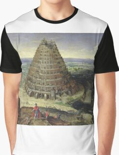 Lucas van Valckenborch - The Tower Of Babel. building landscape: city view, spiral, tower, tower of babel,  babel,  mythology, architecture, construction, gardens, panorama garden, buildings Graphic T-Shirt