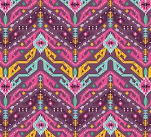 Navajo colorful  tribal pattern with geometric elements by tomuato