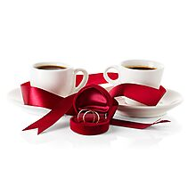 Wedding still life, two cups of coffee with ribbons Photographic Print