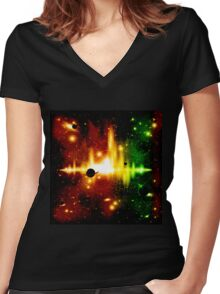Retro space background Women's Fitted V-Neck T-Shirt