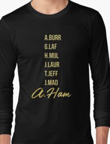 Gold Hamilton Lettering Long Sleeve T-Shirt