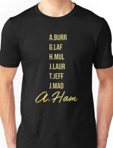 Gold Hamilton Lettering Unisex T-Shirt
