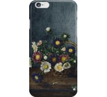 Leon Bonvin - Basket Of Asters. Still life with flowers: flowers, blossom, nature, Asters, floral flora, wonderful flower, plants, cute plant for kitchen interior, garden, vase iPhone Case/Skin