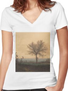 Leon Bonvin - Landscape With A Bare Tree And A Plowman 1864. Country landscape:  tree, village view, plowman, sky, rustic, fog, field, countryside road, trees, garden, flowers Women's Fitted V-Neck T-Shirt