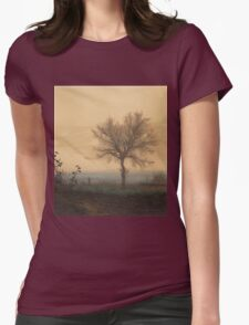 Leon Bonvin - Landscape With A Bare Tree And A Plowman 1864. Country landscape:  tree, village view, plowman, sky, rustic, fog, field, countryside road, trees, garden, flowers Womens Fitted T-Shirt