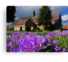 Flowers with church Canvas Print