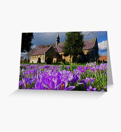 Flowers with church Greeting Card