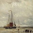 Hendrik Willem Mesdag (Groningen  The Hague)  Fishing barges at low tide by MotionAge Media