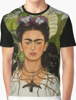 Self-Portrait with Thorn Necklace and Hummingbird  by Frida Kahlo Graphic T-Shirt