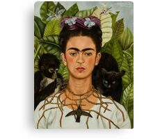 Self-Portrait with Thorn Necklace and Hummingbird  by Frida Kahlo Canvas Print