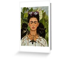 Self-Portrait with Thorn Necklace and Hummingbird  by Frida Kahlo Greeting Card