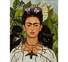 Self-Portrait with Thorn Necklace and Hummingbird  by Frida Kahlo Photographic Print