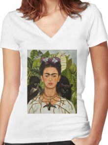 Self-Portrait with Thorn Necklace and Hummingbird  by Frida Kahlo Women's Fitted V-Neck T-Shirt