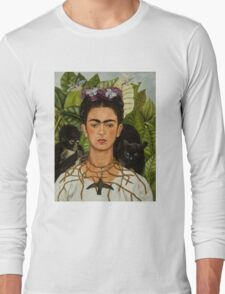 Self-Portrait with Thorn Necklace and Hummingbird  by Frida Kahlo Long Sleeve T-Shirt
