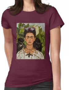 Self-Portrait with Thorn Necklace and Hummingbird  by Frida Kahlo Womens Fitted T-Shirt