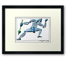 Dance Warrior III  FIST and SPEAR in Blue Framed Print