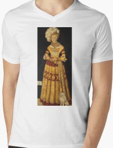 Lucas Cranach The Elder - Duchess Katharina Von Mecklenburg 1514. Woman portrait: sensual woman, duchess, katharina,  lady, jewelry, beautiful dress, HEADDRESS, dog, femine,  lady, madam Mens V-Neck T-Shirt