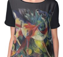 "Franz Marc's Wildly Colorful ""Deer in the Garden"" Chiffon Top"