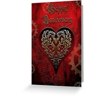 Steampunk Fairytale Anniversary Card ~ Traditional Red Version  Greeting Card