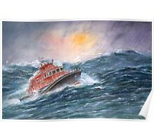 Lifeboat on stormy seas by Paul Sagoo Poster