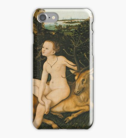 Lucas Cranach The Elder - Landscape With Apollo And Diana 1530. Lovers portrait: adam, woman and man, Eden, DEER, paradise, lovely couple, family, valentine's day, sexy, romance, nude iPhone Case/Skin