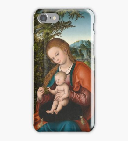 Lucas Cranach The Elder - Madonna And Child In A Landscape 1518. Mother with kid portrait: madonna, Madonna And Child, female, pretty angel, child, Eden, tree, mothers day, memory, mom mum mam, baby iPhone Case/Skin