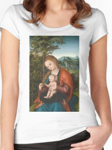 Lucas Cranach The Elder - Madonna And Child In A Landscape 1518. Mother with kid portrait: madonna, Madonna And Child, female, pretty angel, child, Eden, tree, mothers day, memory, mom mum mam, baby Women's Fitted Scoop T-Shirt