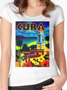 """""""CUBA"""" Vintage Travel Print Women's Fitted Scoop T-Shirt"""
