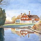 House and pond by Nick Clark by HurstPainters