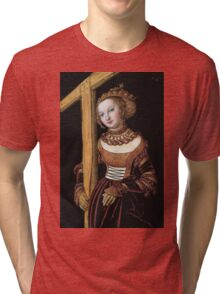 Lucas Cranach The Elder - Saint Helena With The Cross 1525. Woman portrait: Saint Helena, Saint,  Helena,  lady, femine, beautiful dress, jewelry, HEADDRESS, Eden,  saint,  Cross Tri-blend T-Shirt