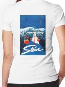 Vintage winter wonderland gondola winter sport snow ski Women's Fitted V-Neck T-Shirt