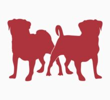 Sam & Oliver 2 Dogs Tee Shirt, Red Baby Tee