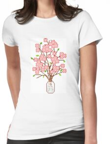 Pixelated Blossom Tree Womens Fitted T-Shirt