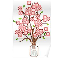 Pixelated Blossom Tree Poster