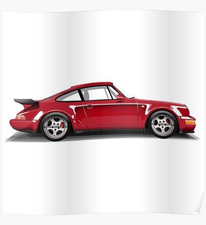 Porsche 911 Turbo (965) (red) Poster