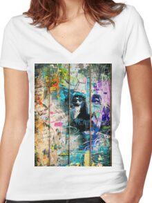 Artistic I - Albert Einstein Women's Fitted V-Neck T-Shirt