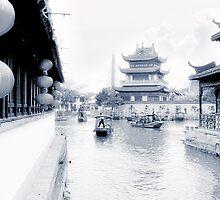 Pearl Stream River Blues - Zhujiajiao near Shanghai by Christine Till  @    CT-Graphics