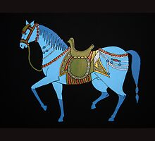 Mughal Horse Pillow and Tote Bag by Shulie1