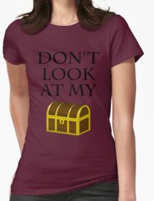 Don't look at my chest Womens Fitted T-Shirt